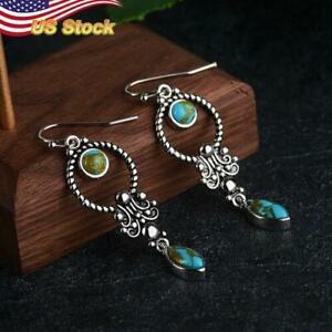 Elegant Boho Drop Earrings vintage Women 925 Silver Plated Blue Jewelry  1 Pair