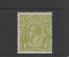 1928 Australia KGV SG 102 4d yellow-olive Sm. multi Perf. 14 Mlh