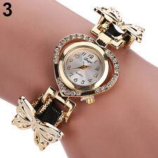 Damenuhr Armbanduhr Schmetterling Herz gold schwarz Strass Analog Damen Uhr 22cm