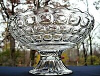 """Federal Glass Clear Colonial Yorktown 10"""" Footed Scalloped Bowl Compote"""