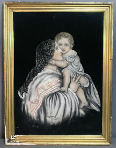 LG Antique MOTHER & CHILD Mary & Baby John PASTEL PORTRAIT Old PAINTING & Frame