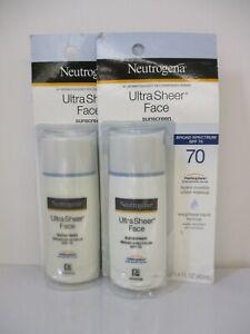 2 Neutrogena Ultra Sheer Face Spf 70 Liquid Sunscreen 1.4oz Ea Exp 1/22+JL 13381