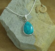 "New 925 Sterling Silver & Turquoise Teardrop Pendant on an 18"" Snake Chain"