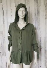 Susina Army Green Ruffled Hooded Jacket Light Coat Sz S NWOT