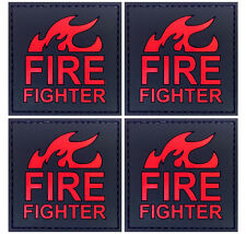 4x Fire Fighter on Fire Patch PVC Morale Patch 3D Tactical Badge Hook #60