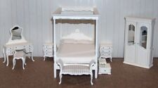 Hansson white canopy bedroom set miniature dollhouse high quality 50% sale