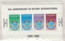 Zimbabwe 1980 75th Anniversary Of Rotary International Mini Sheet x 9 J9021
