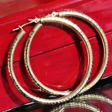 "10kt yellow gold 1.0"" diamond cut hoop earrings hand carved 1.20gr"