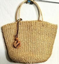 Vintage ESPIRIT Straw Summer Bag Purse Tote Small Cute Logo Tag EUC