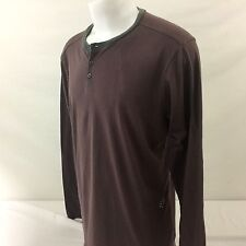 Fox Racing Mens Long Sleeve Henley Shirt XL Red Gray Striped Cotton/Poly Blend