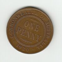 1920 (DOT BELOW) KGV AUSTRALIA PENNY - 6 PEARLS - GREAT VINTAGE COIN - CLEAR DOT