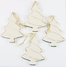 Ceramic White Gold Tree Lot of 4 Christmas Ornament Holiday Decoration