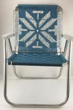 Vintage Sunbeam Aluminum Outdoor Folding Chair Macrame Blue White