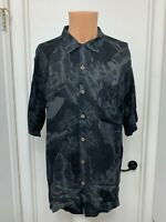 Caribbean Joe Island Mens black button Rayon Hawaiian leaf print Shirt L large