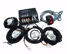 120W 4 HID Bulbs Hide A Way Emergency Hazard Warning Strobe Light System Kit