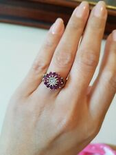 VINTAGE 9ct. GOLD DIAMOND & RUBY CLUSTER RING Size L