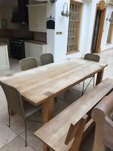 Rustic Wooden Table And Bench With Backrest