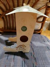Unfinished Ornamental Wooden Boot Birdhouse for Arts Crafts Painting Western