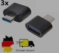 3x USB-C 3.1 Adapter Stecker zu USB A 3.0 OTG Laptop Tablet Mac iPad Pro Schwarz