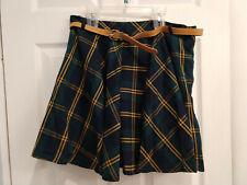 Korean school girl skirt with belt, green and gold (US 10)