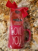 "New HTF RAE DUNN Valentines Day Gift Red LL ""LOVE YOU"" Mug & Chocolate Gift Set"
