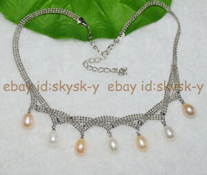 Natural 7-8mm White Pink Cultured Pearl Pendant Silver Chain Necklace 17''