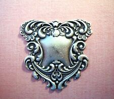 Large Oxidized Silver Floral Scroll Plaque Stamping (1) - SORAT536