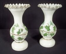 PAIR OF BRISTOL MILK GLASS VASES WITH GREEN LEAF DECORATION
