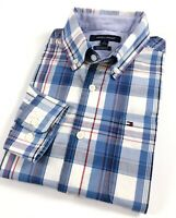 TOMMY HILFIGER Shirt Men's Poplin Blue Multi Madras Checks Custom Fit