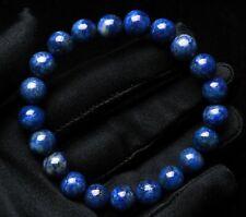 9.5mm Natural Royal Blue Lapis Lazuli Stretch Crystal Beads Bracelet AAAAA