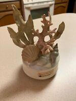 VTG Otagiri Beyond The Reef Porcelain Figure Music Box SHELL Starfish Coral