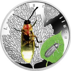Bioluminescent Animals Lampyris Noctiluca Proof Silver Coin 1$ Niue 2017