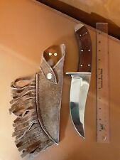 Vtg handmade hunting knife wood handle with leather sheath