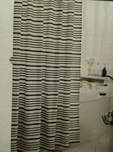 🆕Threshold Striped Black Off White Cotton Shower Curtain size72 in X 72 in