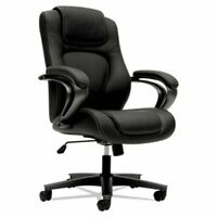 Basyx VL402 Series Executive High-Back Chair, Black Vinyl (BSXVL402EN11)