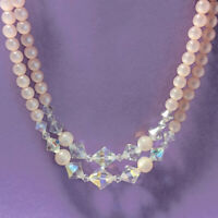 Vintage 2 Strand Light Pink Moon Glow Lucite AB Glass Bead Choker Necklace