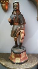Hand Carved Religious Antique Spanish Painted Wooden Saint Rocco/San Roque