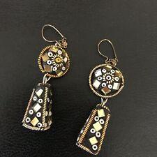 Drops Bead Artsy Seed Bead Earrings Mirror Gold Black Pierced Vintage