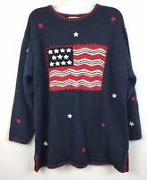 The Quacker Factory Womens 1X Red White Blue Stars USA Flag Knit Stitch Sweater