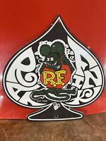 "VINTAGE ""RAT-FINK''  GAS & OIL PLATE HEAVY PORCELAIN SIGN 12X12 INCH MADE IN USA"