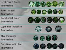 1x 3mm Forest Green Tourmaline & Blue Indicolite Round Loose Natural Gemstone