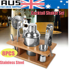 8PS Stainless Cocktail Shaker Mixer Drink Bartender Martini Tools Bar Set + Rack
