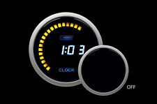"""12 volt Digital Clock 52mm 2 1/16"""" Blue LCD Clock"""