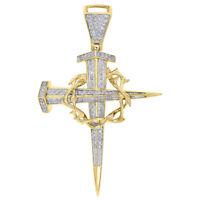 10K Yellow Gold Dagger Nail Diamond Cross Pendant Crown of Thorns Charm 0.41 Ct.
