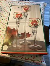 Home Holiday Set Of Three Hurricaine Candle Holders Poinsetta Nib! Look! Xmas