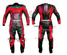 MEN Black RED Kawasaki Motorcycle RACING Leather Suit Jacket Hump Leather Pants