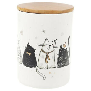 White Tall Porcelain Storage Jar w/Wooden Lid, Cats Kittens Art, 1 qt, Canister