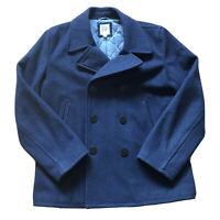 Gap Blue Mens Double Breasted Pea Wool Blend Coat Size M
