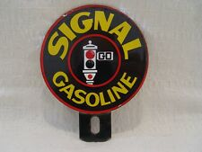 Old Signal Gasoline Gas Oil 2-Piece Lollipop Advertising License Plate Topper