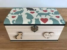 CAT IN LOVING MEMORY WOODEN BOX ASHES CASKET PERSONALISED GIFT  ANY NAME